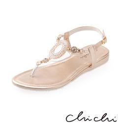 Chichi 華麗圓圈水鑽夾腳涼鞋*金色