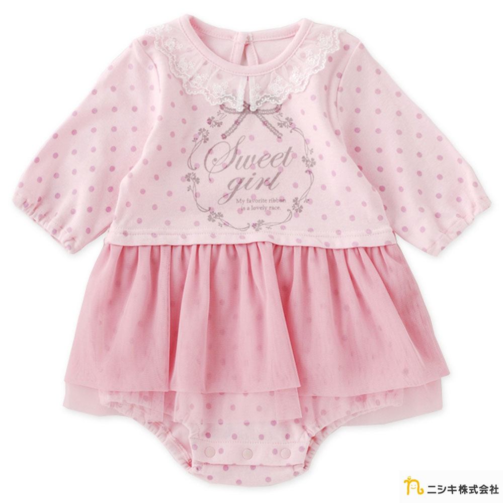 Nishiki日本株式會社 粉色點點雪紡裙襬長袖洋裝