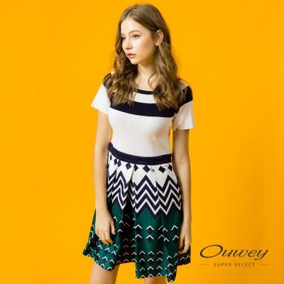 OUWEY歐薇 優雅幾何條紋拼接洋裝(藍)
