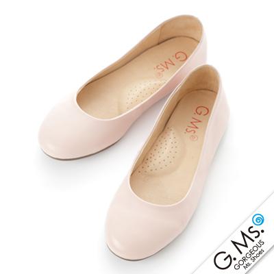 【G.Ms.】旅行女孩II‧素面全真皮可攜式軟Q娃娃鞋(附專屬鞋袋) ‧ 粉紅