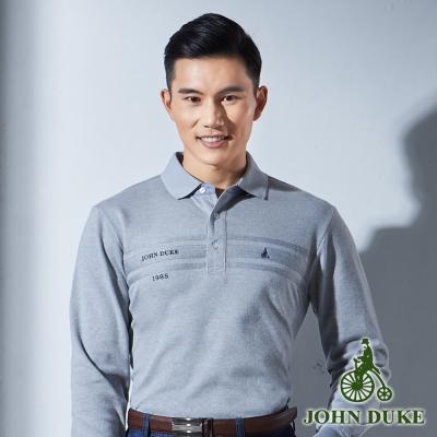 JOHN DUKE 厚質保暖經典素色POLO衫_灰色(916V2653)