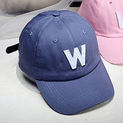 梨花HaNA 韓國簡單字母W藍色棒球帽仲基著用