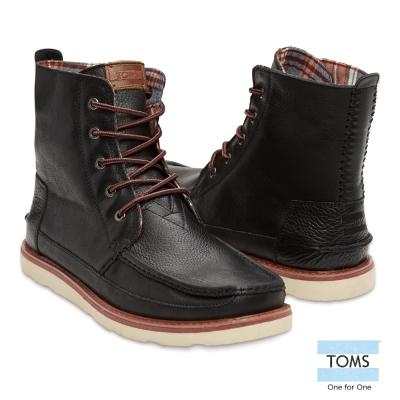 TOMS 全真皮中筒靴-男款(黑)