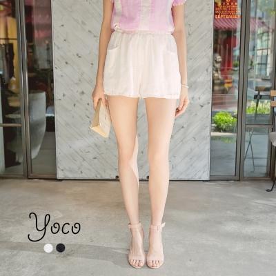 東京著衣-yoco 輕柔質感花朵刺繡雪紡短褲-S.M.L(共二色)
