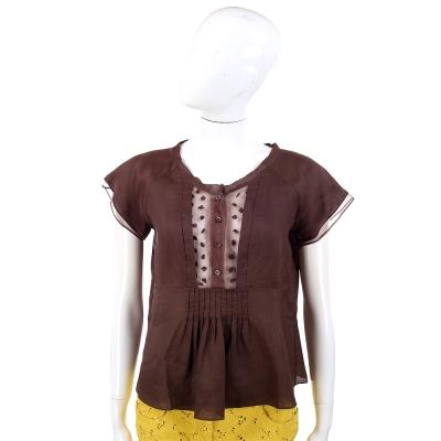 SCERVINO 咖啡色拼接透膚設計抓褶純棉短袖上衣