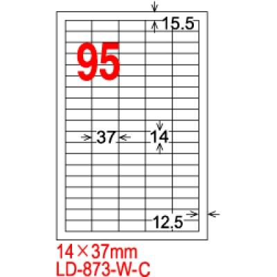 龍德三用列印電腦標籤 LD-873-W-A 白色 95格 (105入/盒)