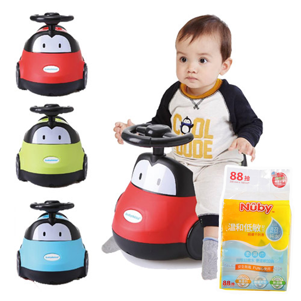 baby hood 小汽車座便器+Nuby EDI超純水柔濕巾88抽/1串