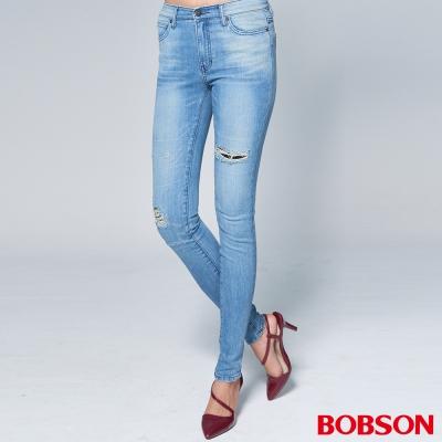 "BOBSON 女款1971""日本進口黑標""刷破水藍小直筒褲"