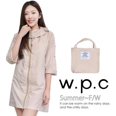 w.p.c. 2 way袖子可折。時尚雨衣/風衣(R9001)_卡其