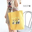 東京著衣 圖文印字帆布包(共一色)