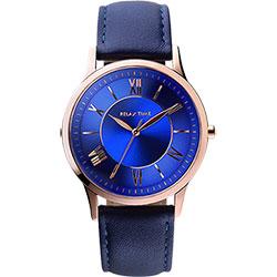 RELAX TIME RT58 經典學院風格腕錶-藍x玫瑰金框/42mm