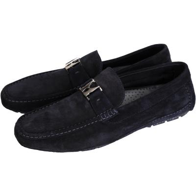 MORESCHI 金屬LOGO麂皮樂褔鞋(深藍色)