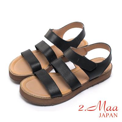 2.Maa 真皮系列-刷舊感磨砂牛皮x木紋粗跟休閒涼鞋-淡黑