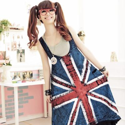 古著 大米字刷色國旗側口袋雙U領長版背心洋裝