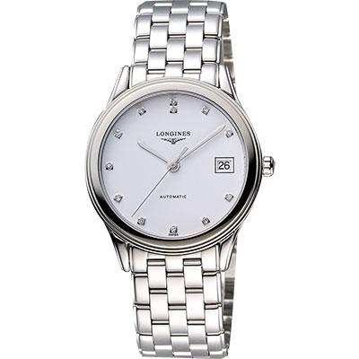 LONGINES Flagship 經典純粹真鑽機械腕錶-白x銀/36mm