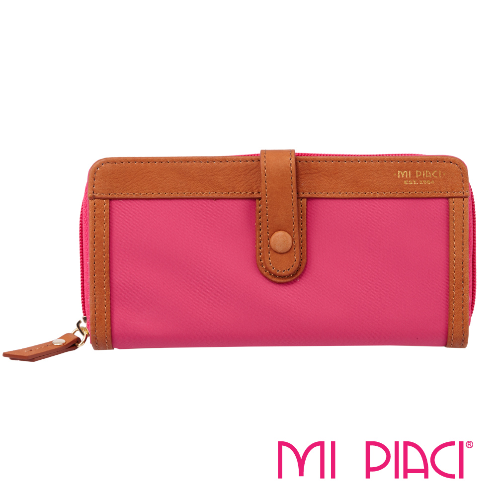 MI PIACI- Jet Set 系列-布配皮長錢夾-1086042-桃紅色