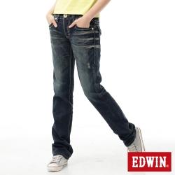 EDWIN BLUE TRIP袋蓋個性牛仔褲-女款-原藍磨