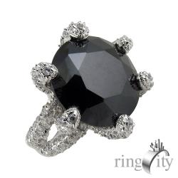 RingCity 黑色鋯六爪滿天星造型戒