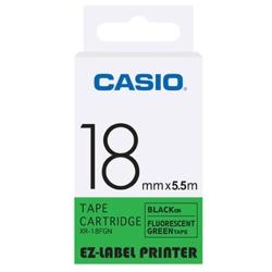 CASIO  標籤機專用特殊色帶-18mm(瑩光色材質)瑩光綠底黑字-XR-18FGN1
