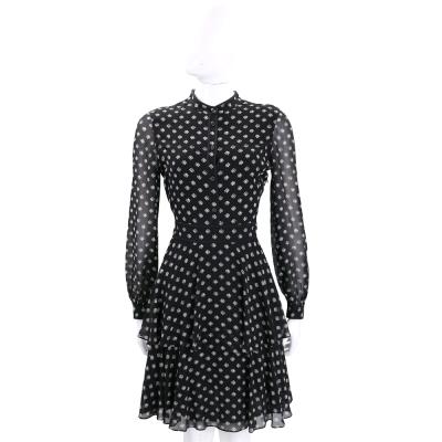 TORY BURCH Seymour 黑色魚圖騰雪紡長袖洋裝