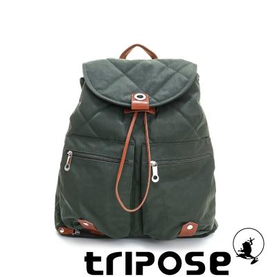 tripose 限量暖款-英倫時尚菱格尼龍後背包-(大) 歡樂綠