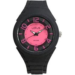 Lotus 撞色潮流 立體指針休閒女錶(TP2132L-02)-黑x桃紅/37mm