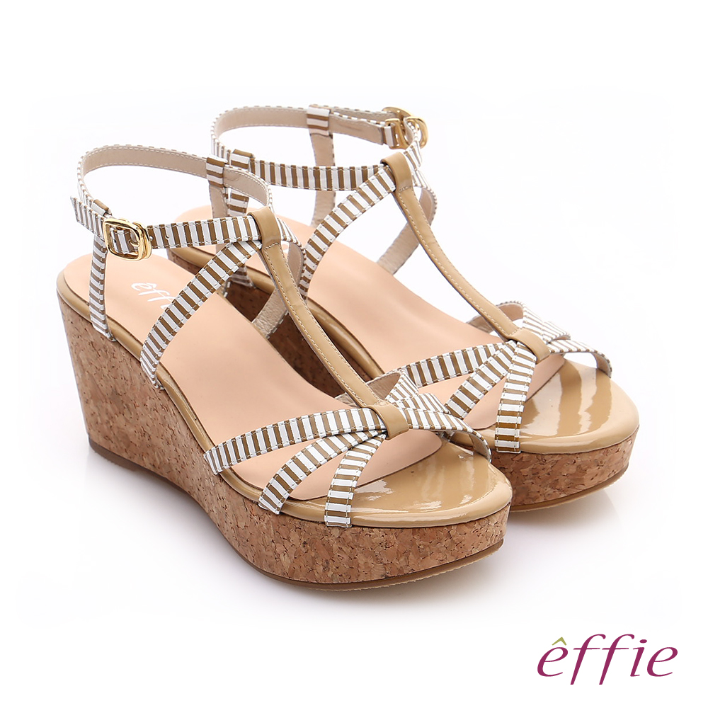 effie 摩登美型 鏡面真皮海軍風繞踝楔型涼鞋 卡其