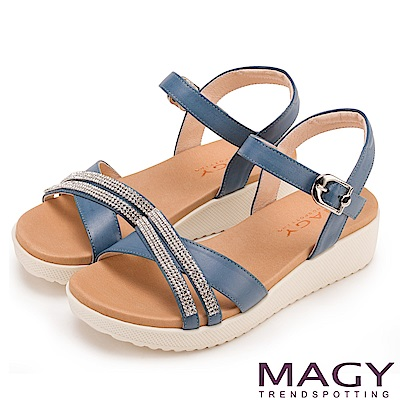 MAGY 夏日時尚 燙鑽交叉牛皮舒適厚底涼鞋-藍色