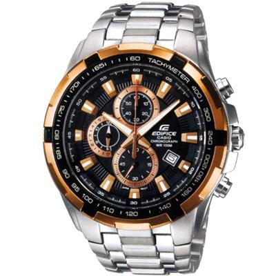CASIO 科技新貴F1指針賽車錶(EF-539D-1A5)-黑x金色字釘邊/48.5mm