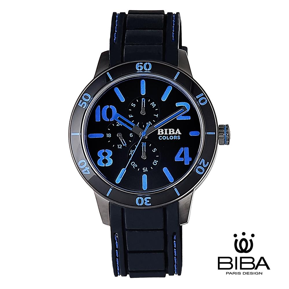 法國 碧寶 BIBA 絕色系列 三眼石英錶 男錶