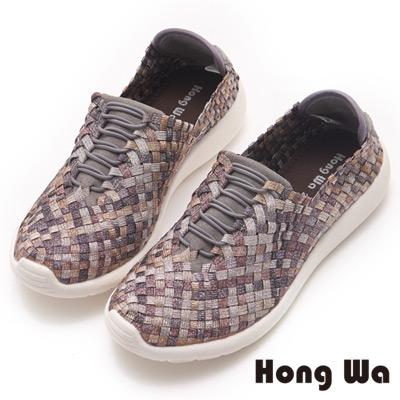 Hong Wa 夏日首選編織輕盈休閒鞋-咖