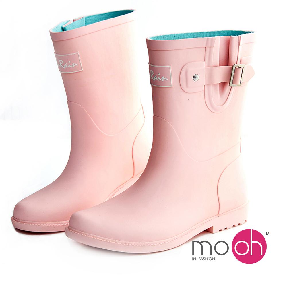mo.oh 愛雨天-素面皮帶搭扣中筒雨鞋-粉色