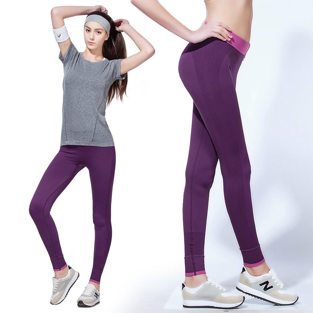 修身褲 彈力瑜珈九分快乾修飾褲-紫色 LOTUS