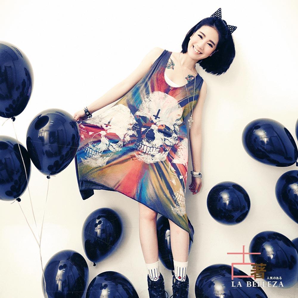 中大尺碼 三顆骷顱頭炫彩刷色背接網割破潑墨背心裙-La Belleza