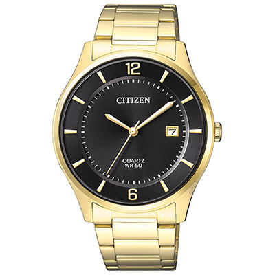 CITIZEN 黑色錶盤經典商務男仕手錶(BD0043-83E)-黑x金/38mm