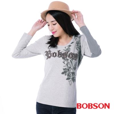 BOBSON  女款貼布繡漸層印色上衣