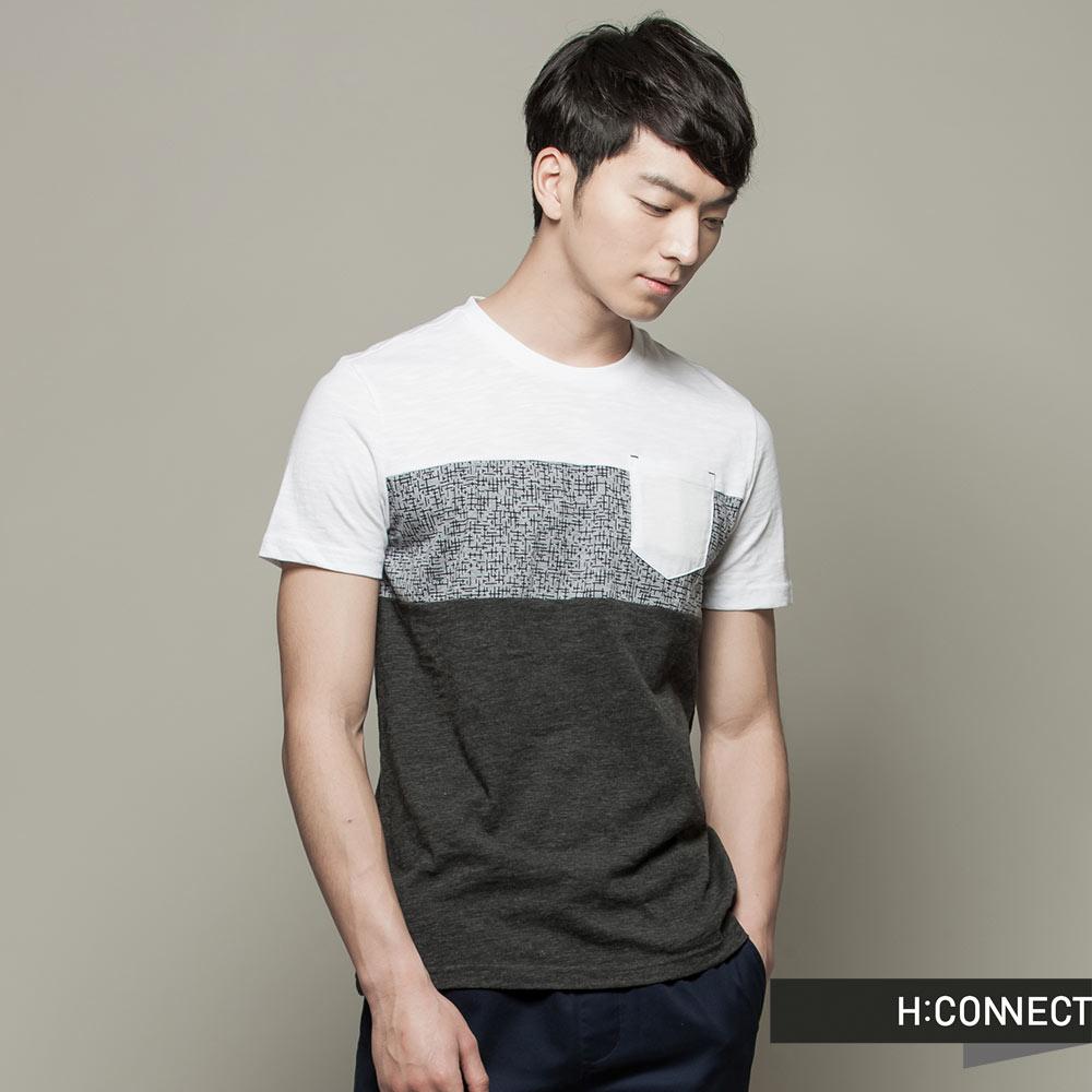 H:CONNECT 韓國品牌  男裝 - 輕柔拼接短袖上衣 - 灰