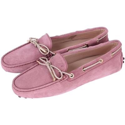 TOD'S Gommino 編織綁帶麂皮豆豆鞋(深粉色)