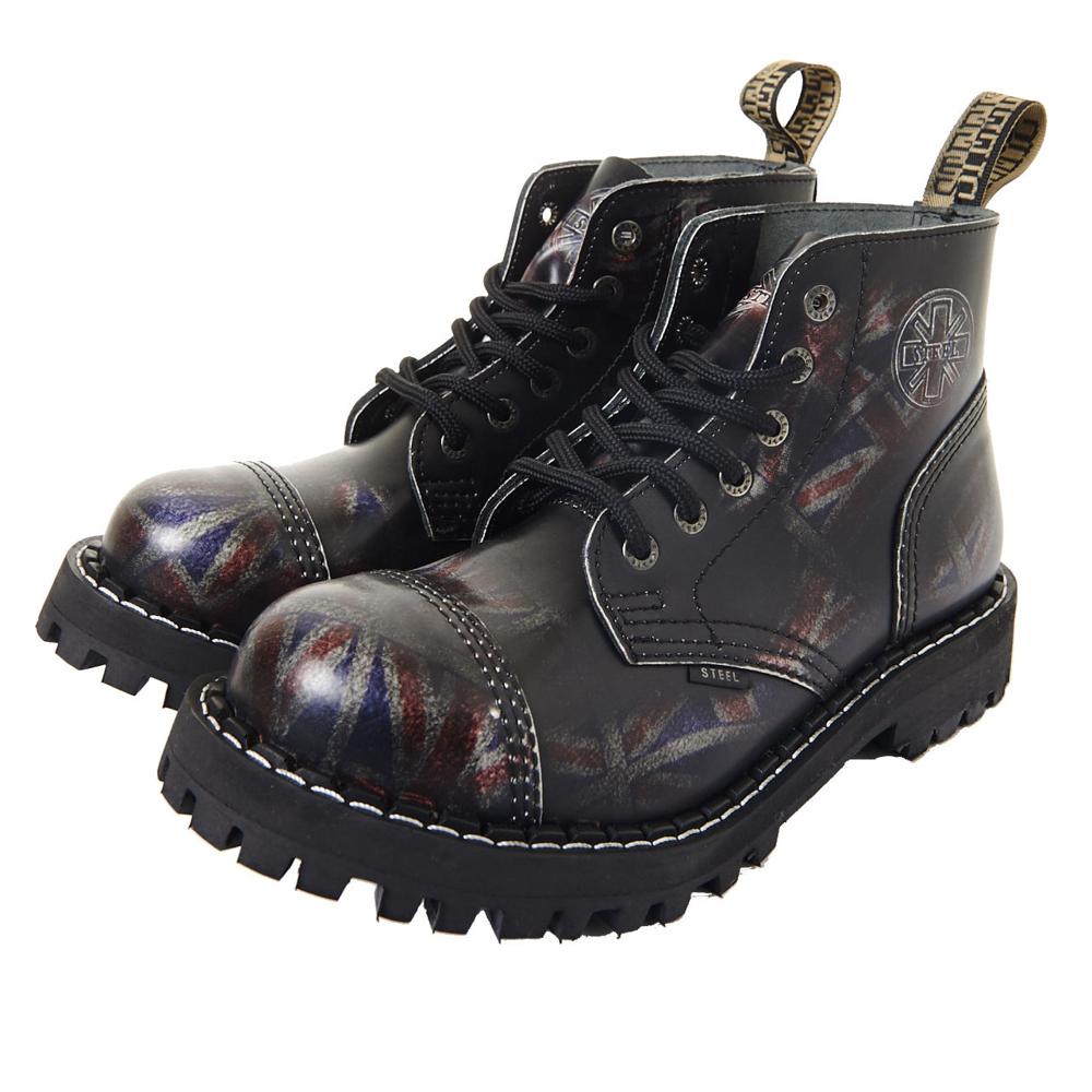 STEEL BOOTS歐洲經典6孔鐵頭靴-國旗圖紋