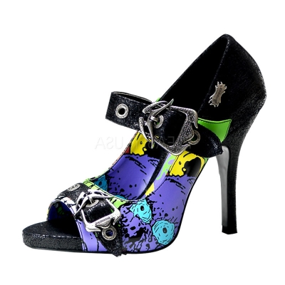 DEMONIA藝術塗鴉魚口跟鞋-藍/黑