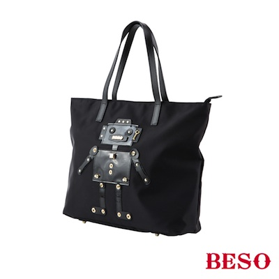 BESO 潮流風格 異材拼接機器人托特包 ~黑