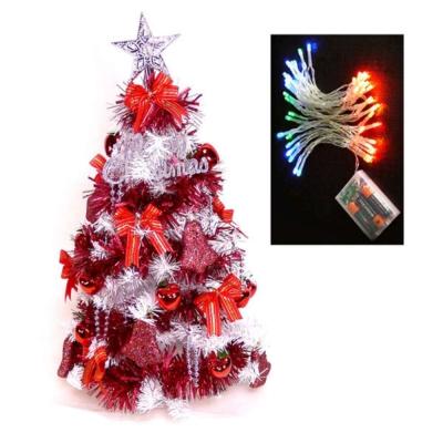 台製2尺(60cm)經典白色聖誕樹(紅色系)+LED50燈電池彩光
