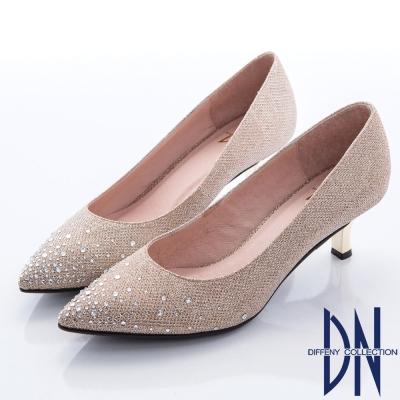 DN-迷人奢華-耀眼鑽飾金蔥尖頭高跟鞋-金