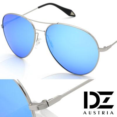 DZ 維多利亞大圓弧框 抗UV 偏光 太陽眼鏡墨鏡(銀框冰藍膜)