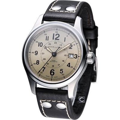 HAMILTON Khaki 航空自動機械腕錶-卡其米黃/40mm
