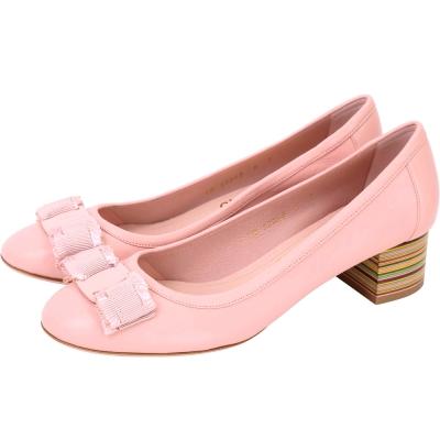 Salvatore Ferragamo Elvin40 蝴蝶結彩條紋粗跟鞋(粉色)