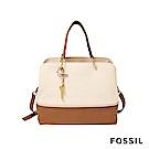FOSSIL LANE 真皮俐落多夾層肩背/手提兩用包-奶油白色