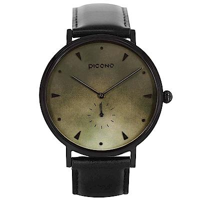 【PICONO】A week 系列 渲染簡約黑色真皮錶帶手錶 / AW-7602