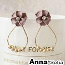 【2件399】AnnaSofia 粉綣花朵 後掛墬耳針耳環(金系)