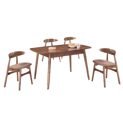 品家居 斯凡3.7尺實木拉合式餐桌椅組合(一桌四椅)-110x80x75cm免組